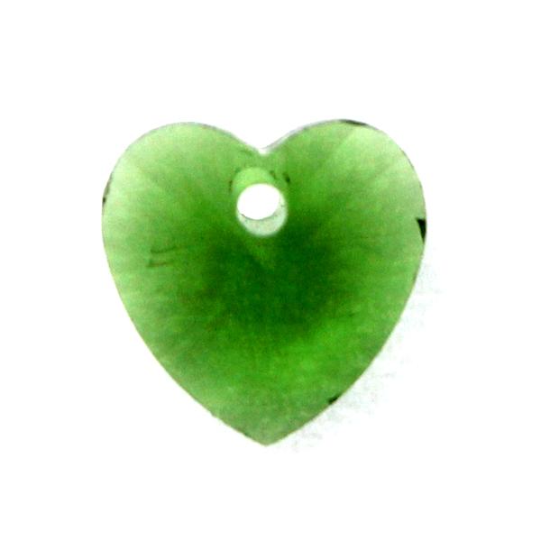 Dark Green Hjärta Glas 10x10mm 1st