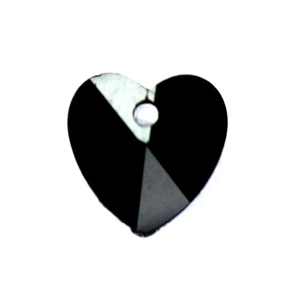 Jet Hjärta Glas 10x10mm 1st