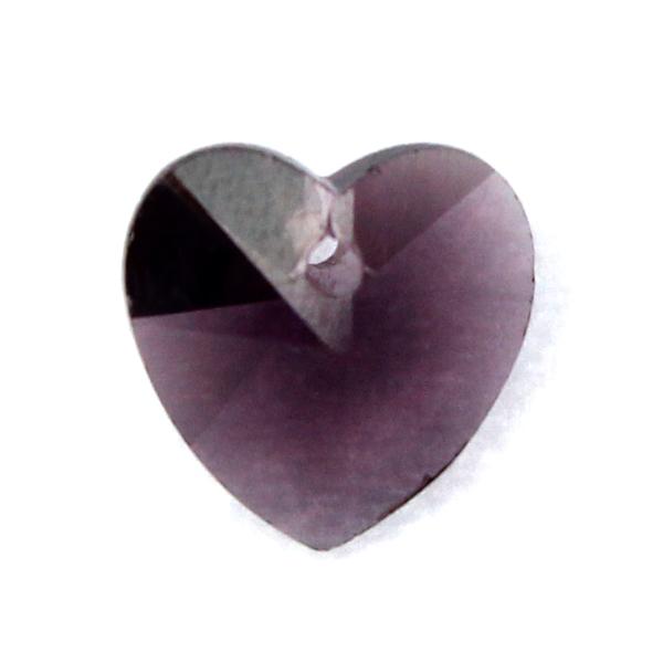 Purple Hjärta Glas 10x10mm 1st