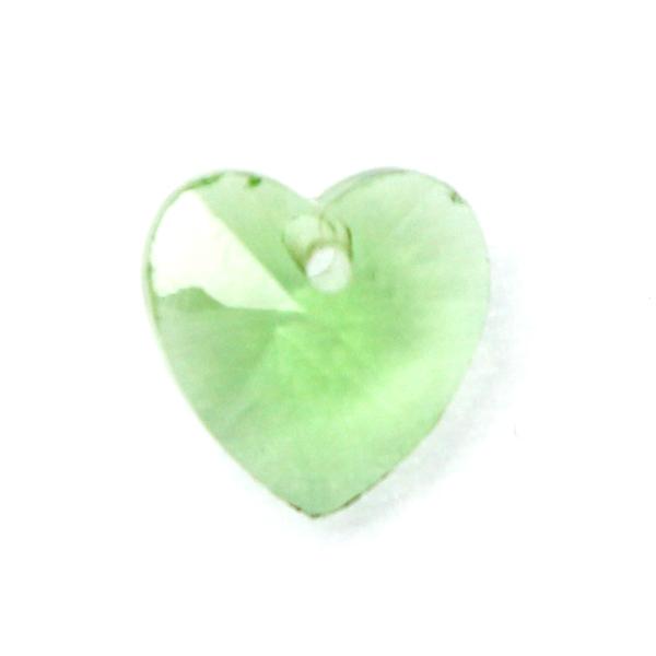Light Green Hjärta Glas 10x10mm 1st