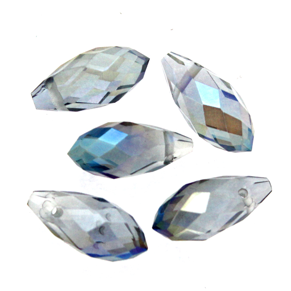 Crystal Blue Luster Droppe Glas 12x6mm 1st