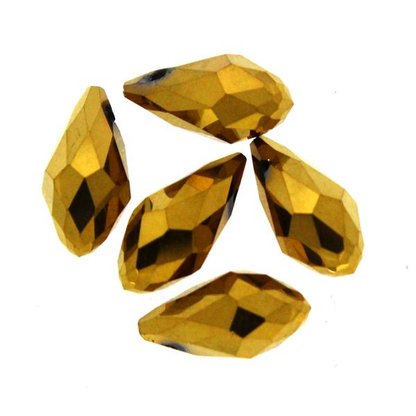 Metallic Gold Droppe Glas 12x6mm 1st