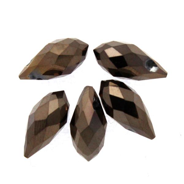 Metallic Dark Bronze Droppe Glas 12x6mm 1st
