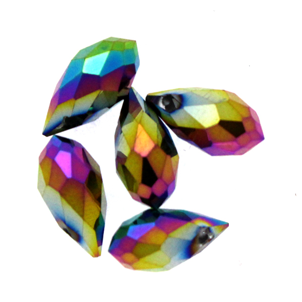 Metallic Rainbow Droppe Glas 12x6mm 1st