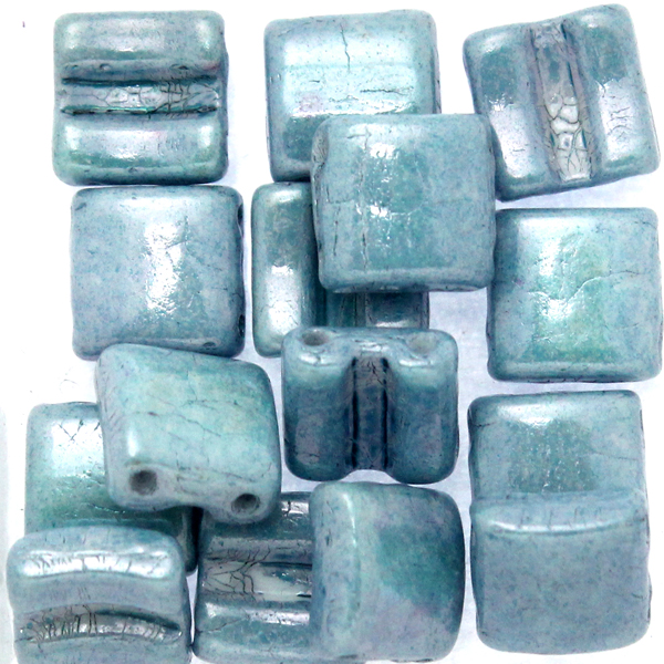 Opaque White Blue Luster Fixer Bead Horizontal Holes 5g