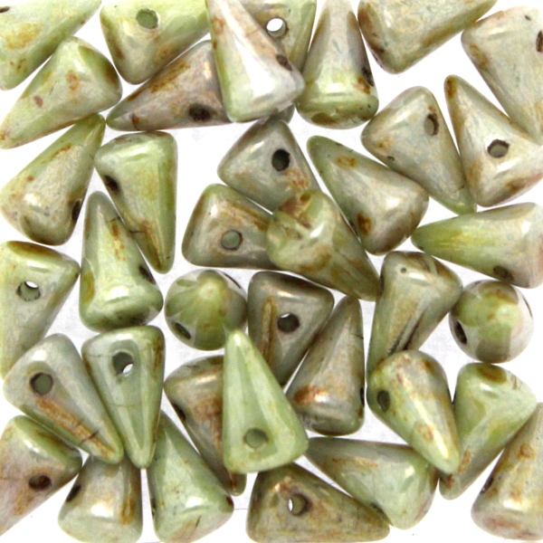 Opaque White Green Luster Spikes 5x8mm 5g