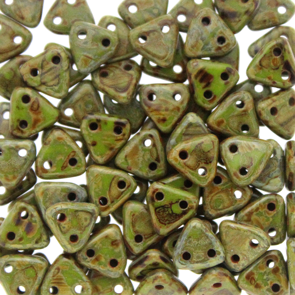Opaque Light Olive Picasso CzechMates Triangle 10g