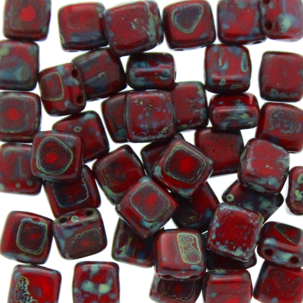 Opaque Red Picasso Tile 10g