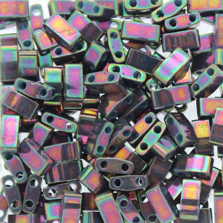 Opaque Purple Gray Rainbow Luster HTL1898 Miyuki Half Tila 5g