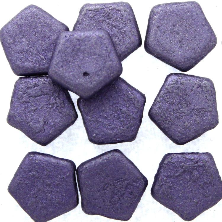 Alabaster Etched Metallic Violet Pego Bead 10mm 10st