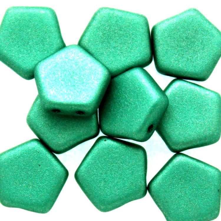 Alabaster Metallic Emerald Pego Bead 10mm 10st