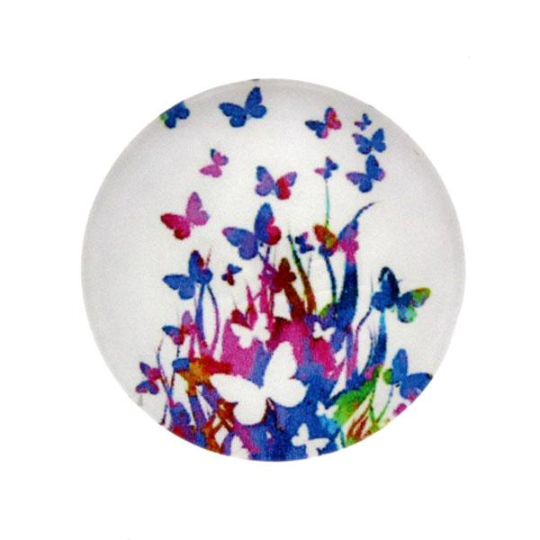 Fjärilar Vit Bakgrund 3 Cabochon 25mm 1st