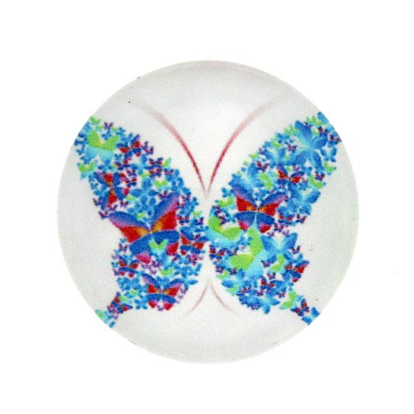 Fjärilar Vit Bakgrund 6 Cabochon 25mm 1st