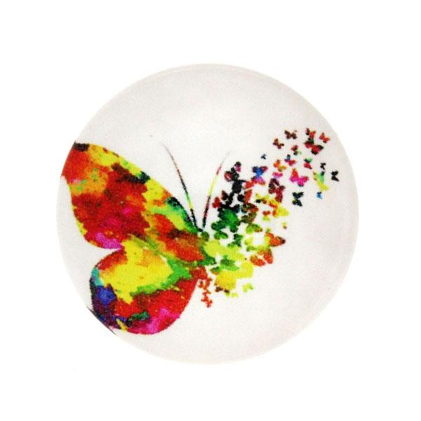 Fjärilar Vit Bakgrund 8 Cabochon 25mm 1st