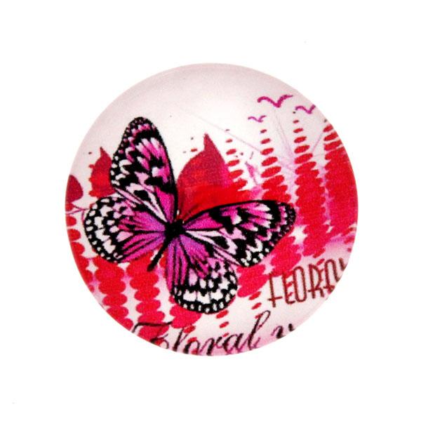 Fjärilar Vit Bakgrund 11 Cabochon 25mm 1st