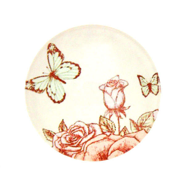 Fjärilar Vit Bakgrund 12 Cabochon 25mm 1st
