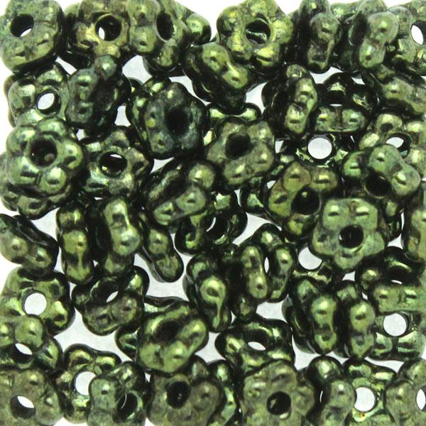 Jet Green Luster Flower Bead 5g