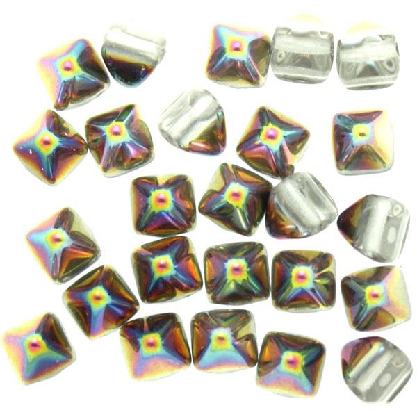 Crystal Vitrail Pyramid Beads 6x6mm 25st