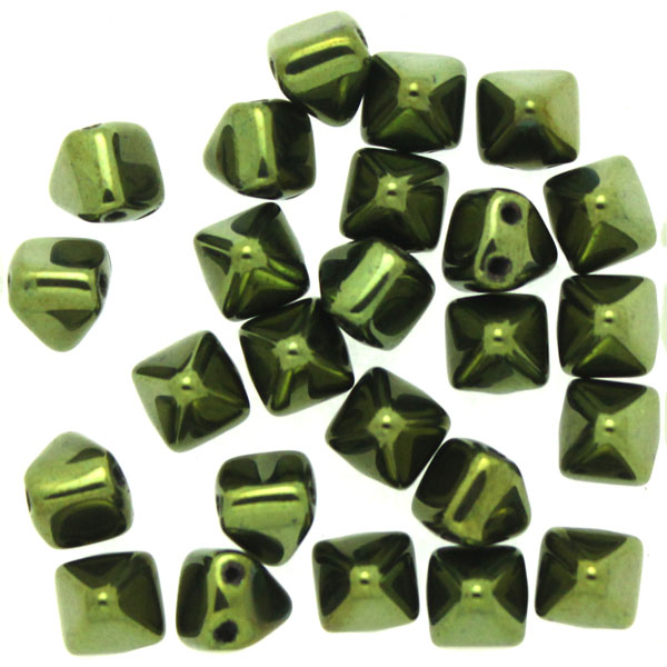 Jet Green Luster Pyramid Beads 6x6mm 25st