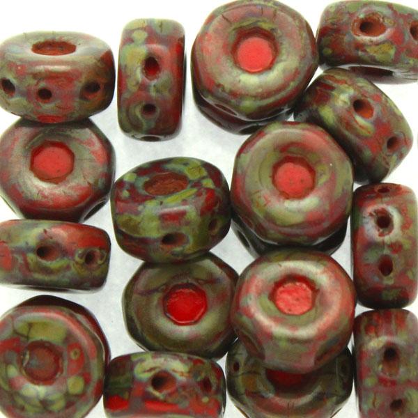Opaque Red Dark Travertin Octo Beads 10g