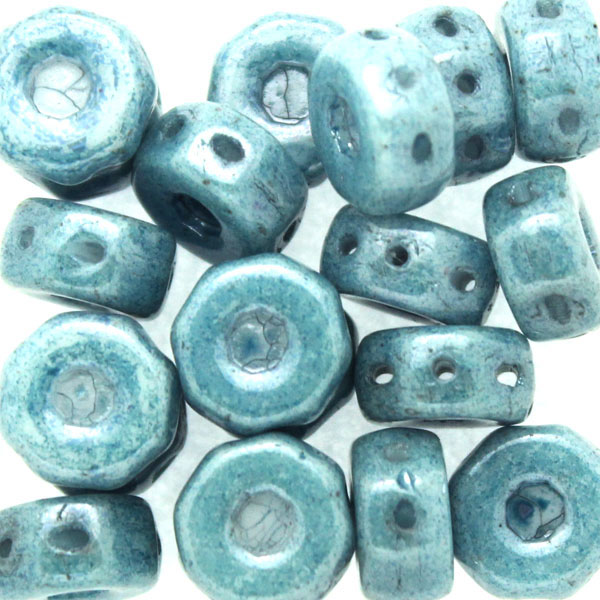 Opaque White Blue Luster Octo Beads 10g