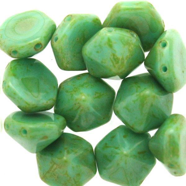Green Turquoise Travertin Pyramid Hex 12st