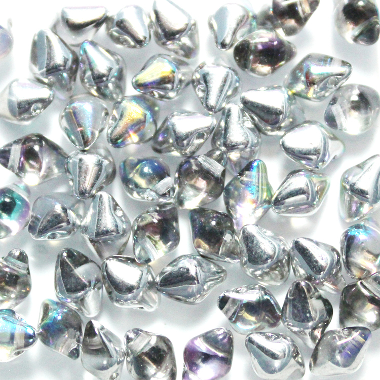 Crystal Silver Rainbow Spiky Button 50st