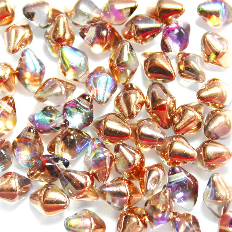 Crystal Copper Rainbow Spiky Button 50st