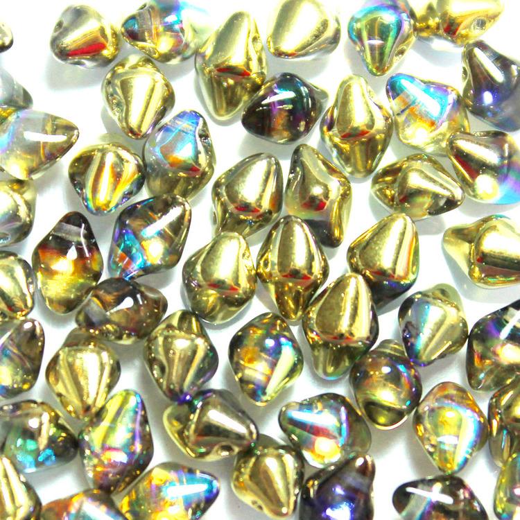 Crystal Golden Rainbow Spiky Button 50st