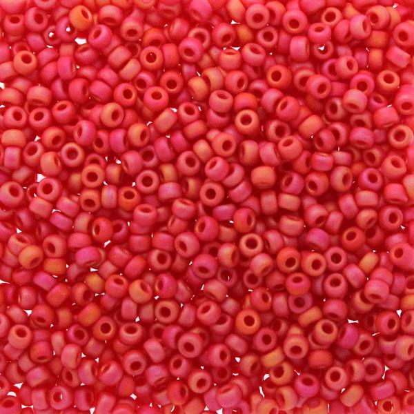 Matte Opaque Vermillion Red AB 11-0407FR Miyuki 11/0 10g