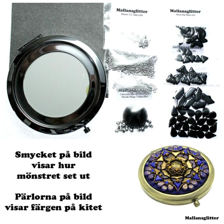 Amhedeos Spegel Kit Svart och Hematite (EJ MÖNSTER ENDAST PÄRLOR)