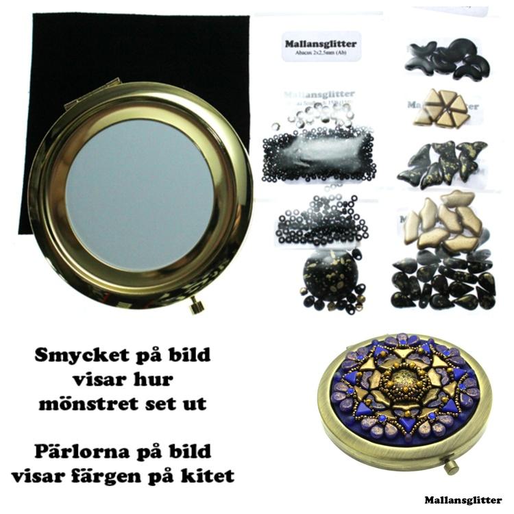 Amhedeos Spegel Kit Svart och Guld (EJ MÖNSTER ENDAST PÄRLOR)