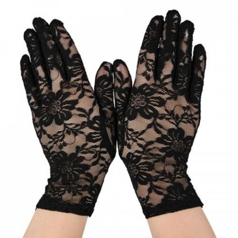 Lace gloves black