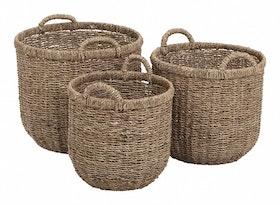 Sjögräskorg med ram, 3-pack, Dixie