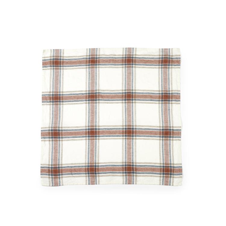 Kökshandduken har botten i ostronfärgat linne med rutmönster i skiffer, oliv, guldbrun, rost och svart.