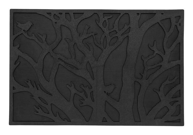 Svart dörrmatta relief-mönstrad med ett träd med liten fågel i.