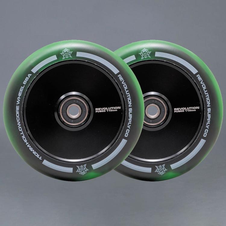 Revolution Hollowcore 110mm Green / Black Sparkcykel Hjul 2-pack