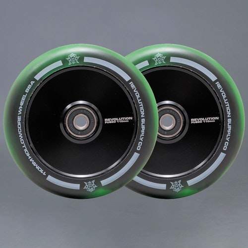Revolution Hollowcore 110mm Green / Black Sparkcykel Hjul 2-pack