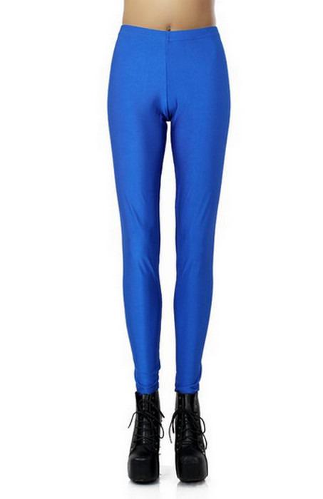 Blå kändis stil metalliska glänsande leggings