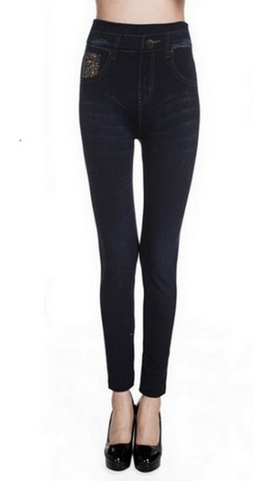 Svarta jeggings faux jeans leggings