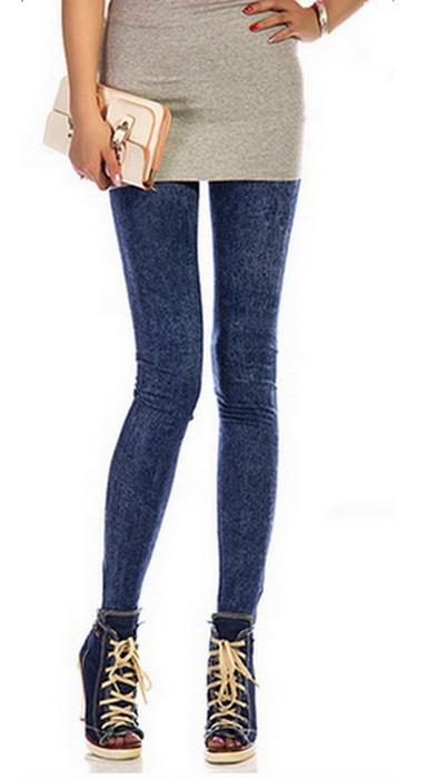 Blåa faux jeans leggings