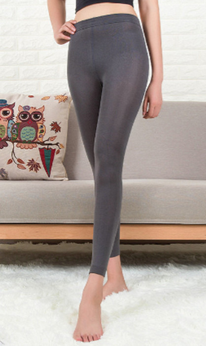 Gråa Solid Velvet vinter tät Leggings