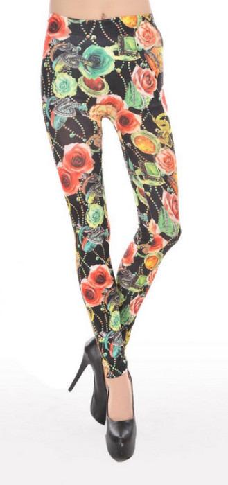 Blomm mönster natur svarta leggings