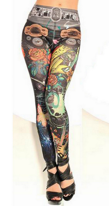 Sömlös musik tattoo svarta leggings