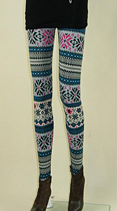 Blåa geometriska print leggings