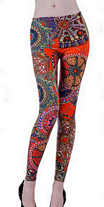 Orange geometri mönster leggings