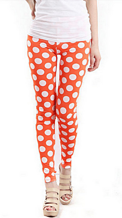 Vita prickar orange leggings