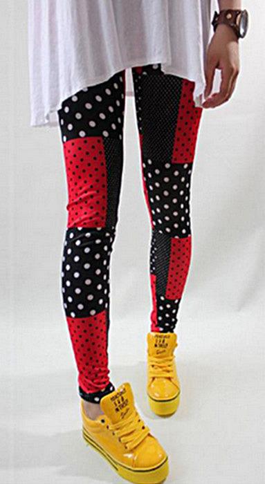 Svarta röda vita pricka leggings
