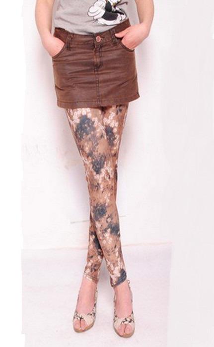 Svarta bruna blomster motiv Leggings