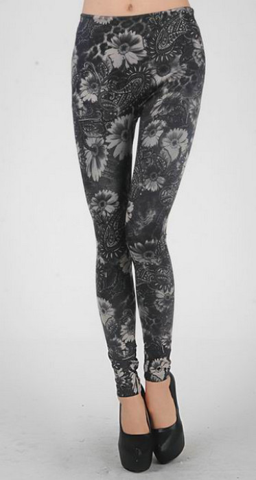 Svarta blommor tattoo leggings